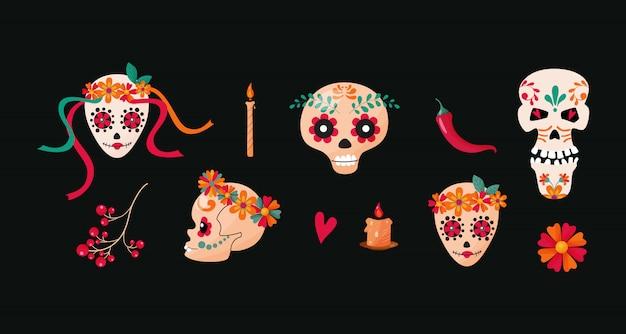 Caveiras de açúcar mexicano, personagens de desenhos animados diferentes. Vetor Premium