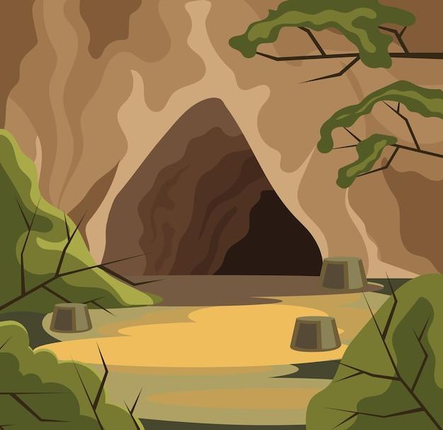 Caverna antiga. Vetor Premium
