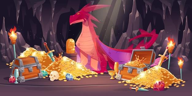Caverna com dragão vermelho e tesouro, pilhas de moedas de ouro, joias e gemas Vetor grátis