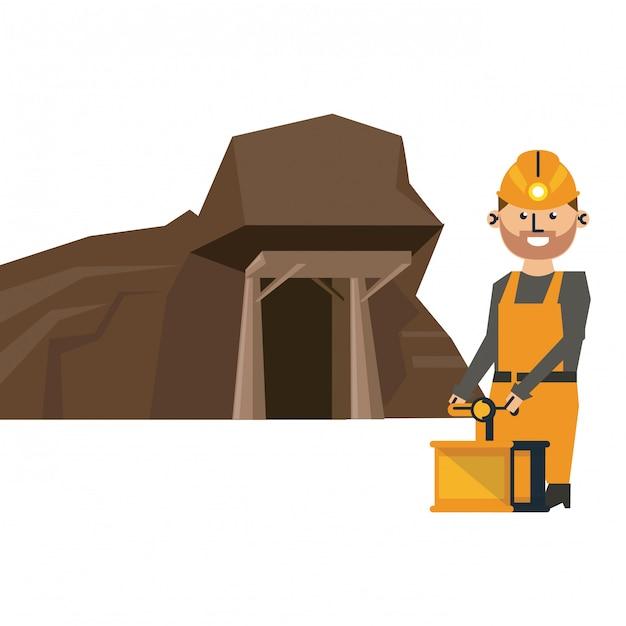 Caverna de mineração e trabalhador com detonador Vetor Premium