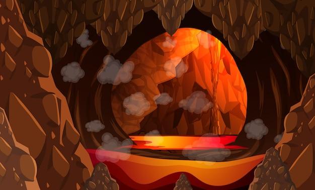 Caverna escura infernal com cena de lava Vetor grátis