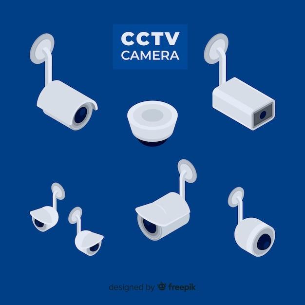 Cctv camera collection com design plano Vetor grátis