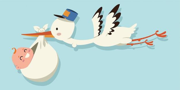 Cegonha bonito dos desenhos animados e bebê. ilustração de um pássaro de vôo que leva uma criança recém-nascida isolada em um fundo azul. Vetor Premium