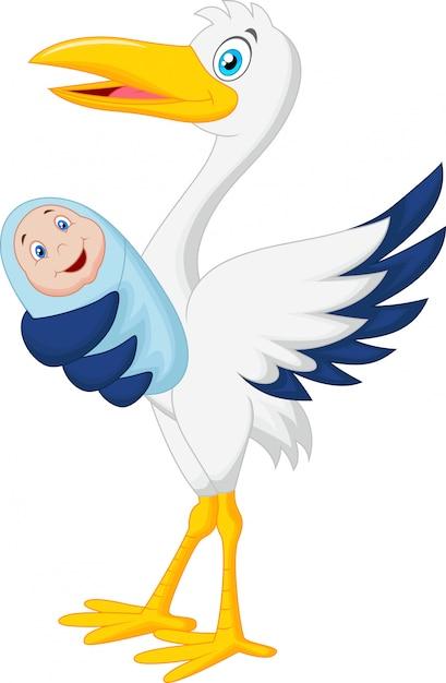Cegonha de desenhos animados com bebê Vetor Premium