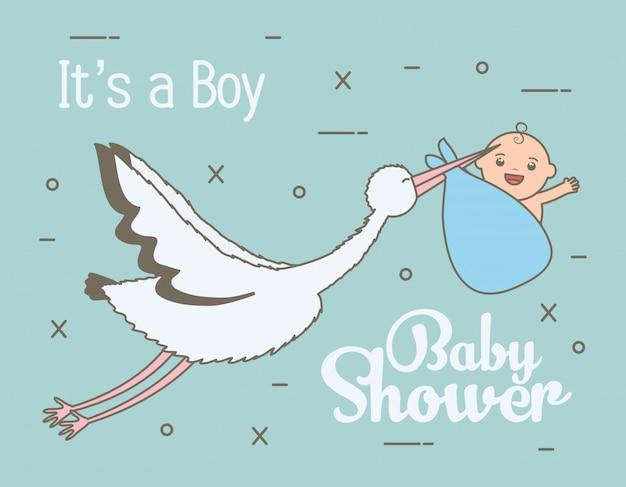 Cegonha, voando, com, cute, menino bebê, em, saco Vetor grátis