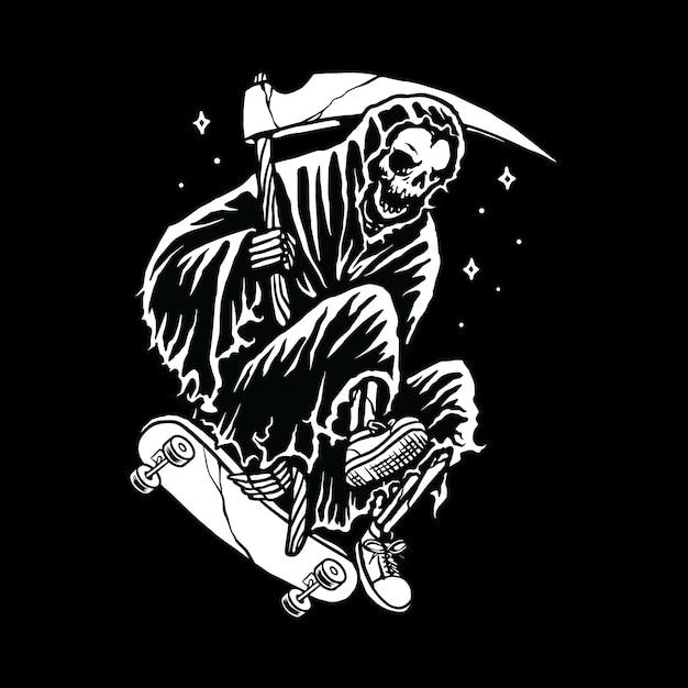 Ceifador crânio skate linha ilustração gráfico arte vetorial design de t-shirt Vetor Premium