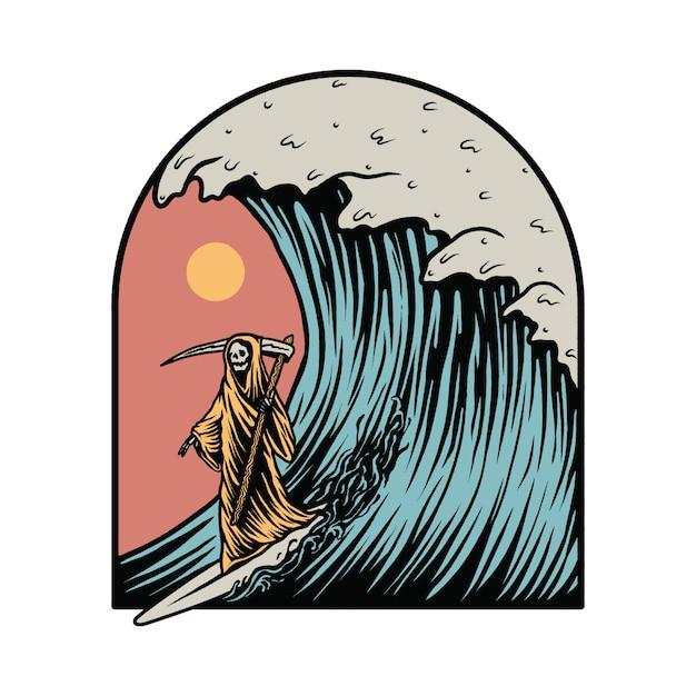 Ceifador surf ilustração gráfica de verão Vetor Premium