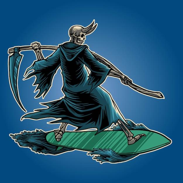 Ceifeira surf ilustração Vetor Premium