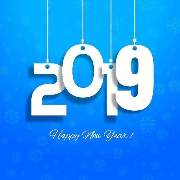 Celebração 2019 colorido feliz ano novo vetor de fundo Vetor Premium