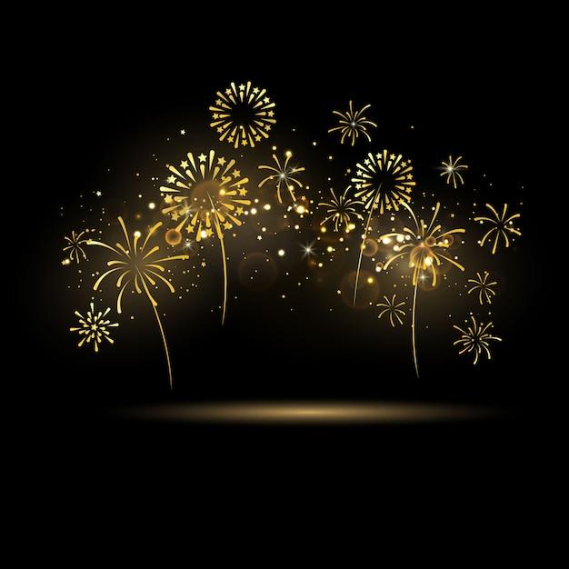 Celebração com fitas de ouro de fogos de artifício. luxo rico saudação cartão. Vetor Premium