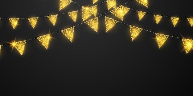 Celebração da bandeira confete e fitas com moldura dourada bandeira da festa brilhante Vetor Premium