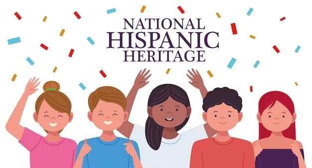 Celebração da herança nacional hispânica com personagens de pessoas e confetes Vetor Premium