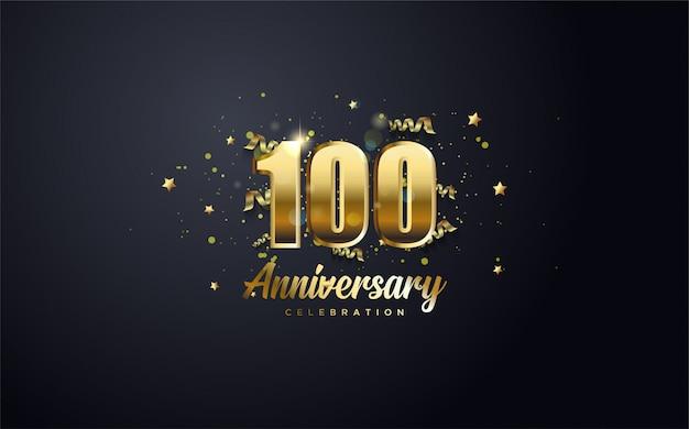 Celebração de aniversário 100º número em ouro e com as palavras celebração de aniversário de ouro. Vetor Premium