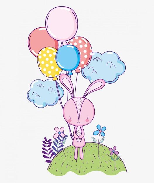Celebração de aniversário feliz coelho com balões Vetor Premium