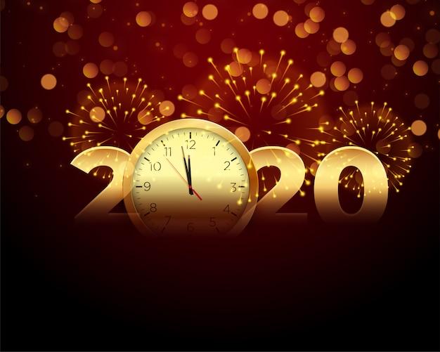 Celebração de ano novo de 2020 com relógio e fogo de artifício Vetor grátis
