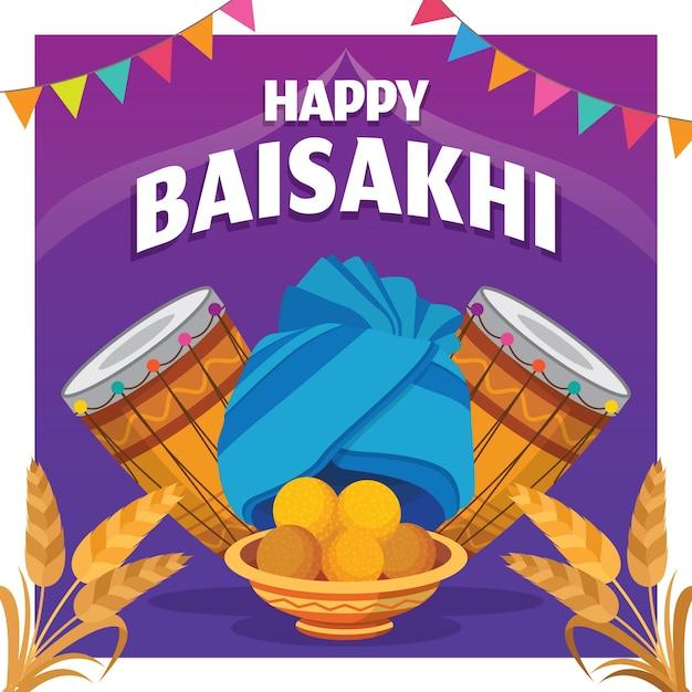 Celebração de baisakhi feliz design plano Vetor grátis