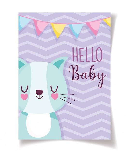 Celebração de decoração de gato e buntings bonito de chuveiro de bebê, modelo de convite de boas-vindas Vetor Premium