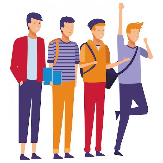 Celebração de estudantes de rapazes Vetor Premium