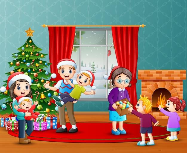 Celebração de família feliz um natal na sala de estar Vetor Premium