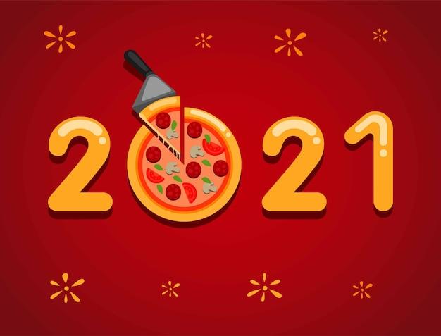 Celebração de feliz ano novo de 2021 com conceito de bandeja de pizza Vetor Premium