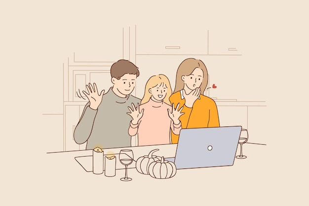 Celebração de feriado online e conceito de videoconferência Vetor Premium