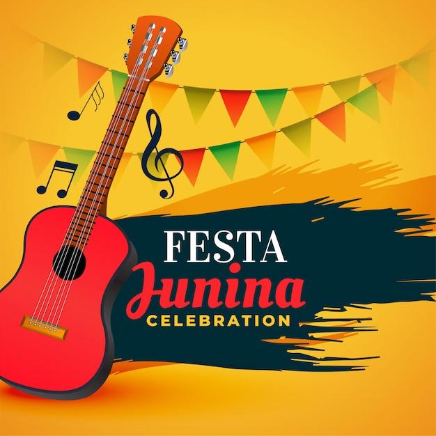 Celebração de música festa junina fundo Vetor grátis