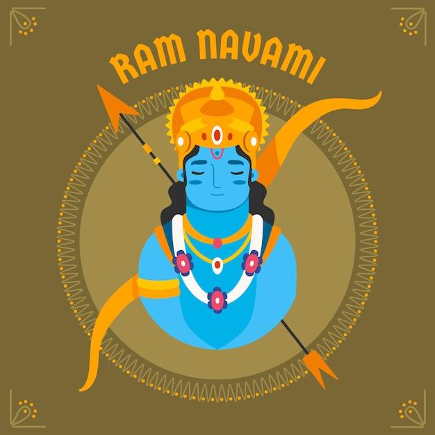 Celebração de navami de ram de design plano Vetor grátis