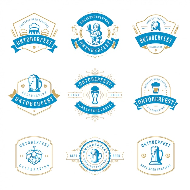 Celebração de oktoberfest cerveja festival rótulos, emblemas e logotipos conjunto Vetor Premium