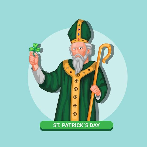 Celebração de símbolo de figura de saint patrick para o dia de st patricks em março. conceito em ilustração de desenho animado Vetor Premium