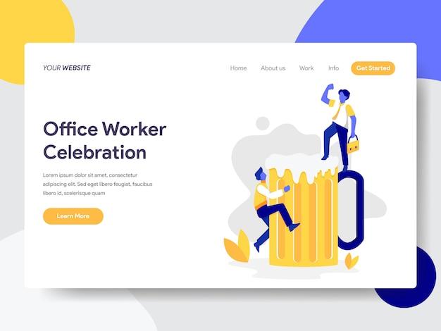 Celebração de trabalhador de escritório com ilustração de cerveja Vetor Premium