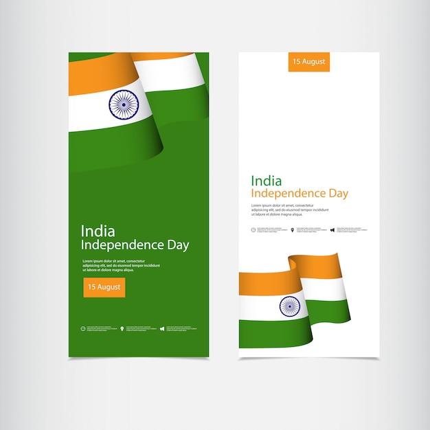 Celebração do dia da independência da índia Vetor Premium
