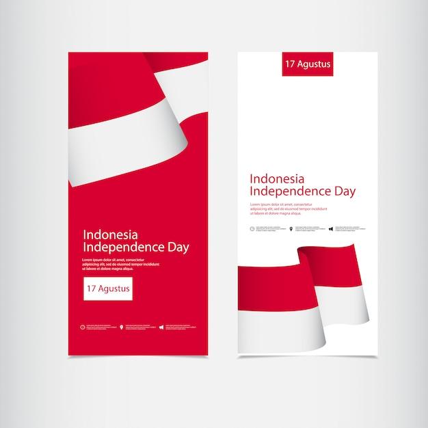 Celebração do dia da independência da indonésia Vetor Premium