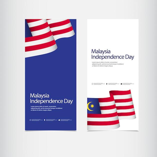 Celebração do dia da independência da malásia Vetor Premium