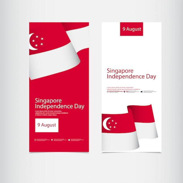 Celebração do dia da independência de cingapura Vetor Premium