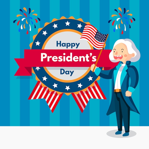 Celebração do dia dos presidentes de design plano Vetor grátis