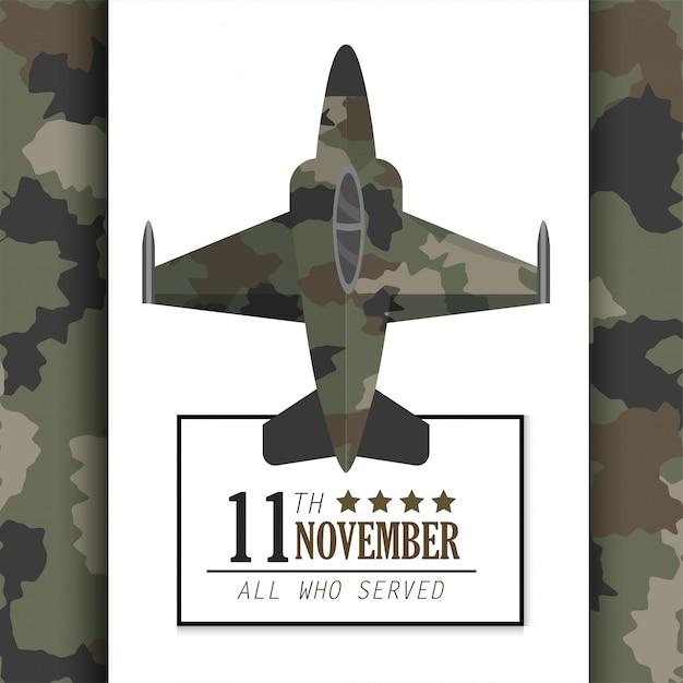 Celebração do dia dos veteranos com avião militar Vetor Premium