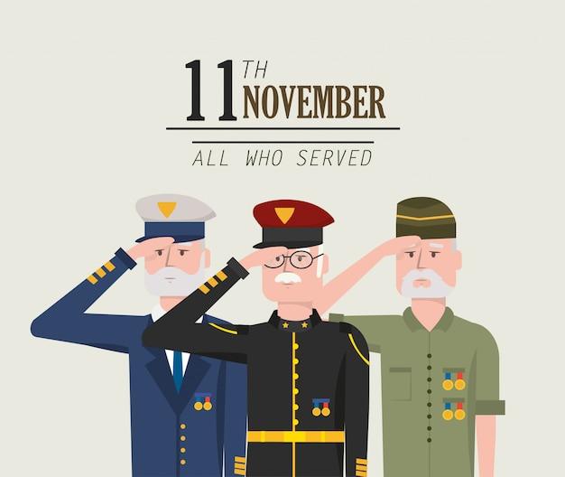 Celebração do dia dos veteranos da força do exército Vetor Premium