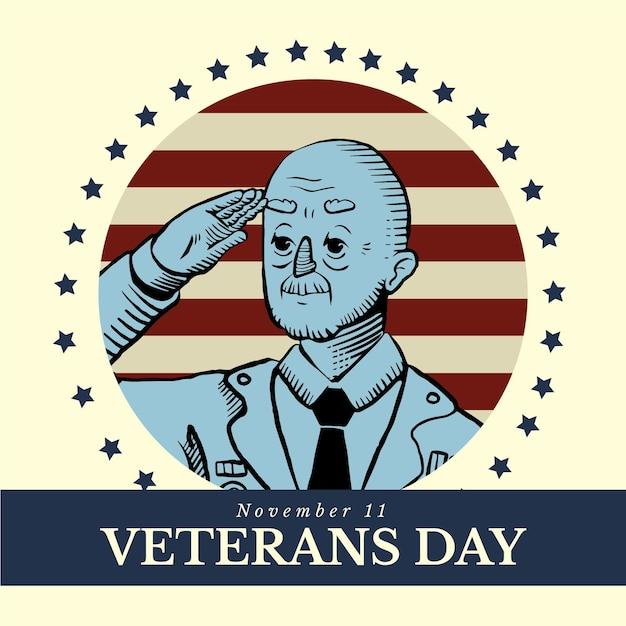 Celebração do dia dos veteranos de design vintage Vetor grátis
