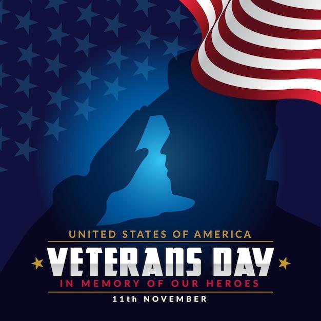 Celebração do dia dos veteranos do flat design Vetor Premium