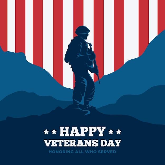 Celebração do dia dos veteranos do flat design Vetor grátis