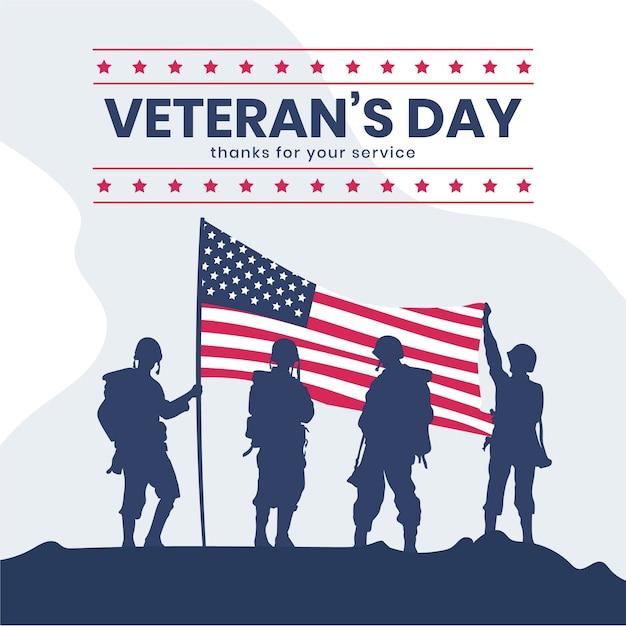 Celebração do dia dos veteranos do flat Vetor grátis