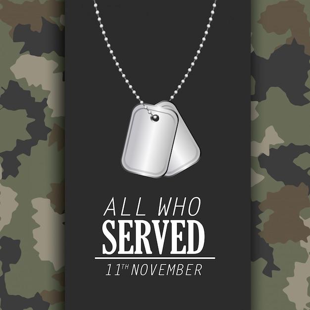 Celebração do dia dos veteranos e colar memorável Vetor Premium