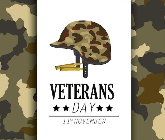 Celebração do dia dos veteranos e uniforme de capacete Vetor Premium