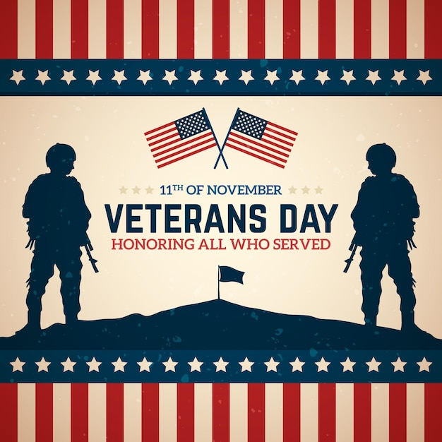 Celebração do dia dos veteranos vintage Vetor grátis