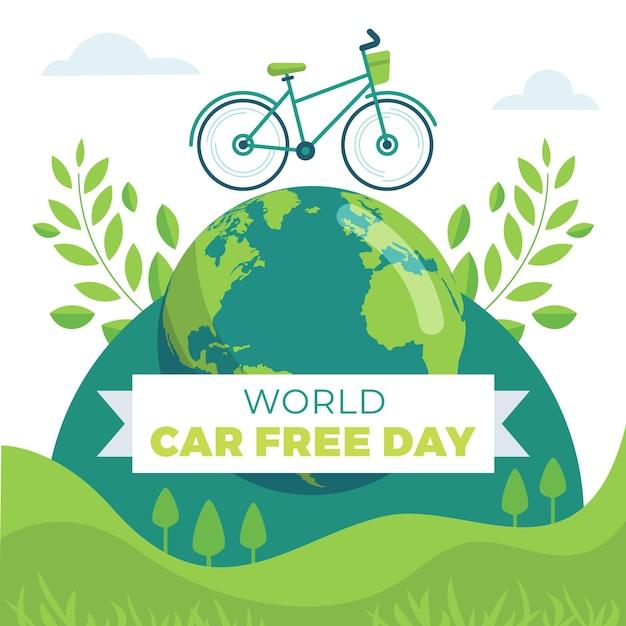 Celebração do dia livre de carros do mundo Vetor Premium