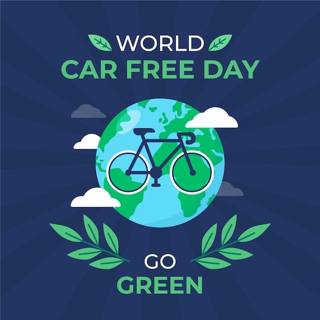 Celebração do dia livre de carros do mundo Vetor grátis