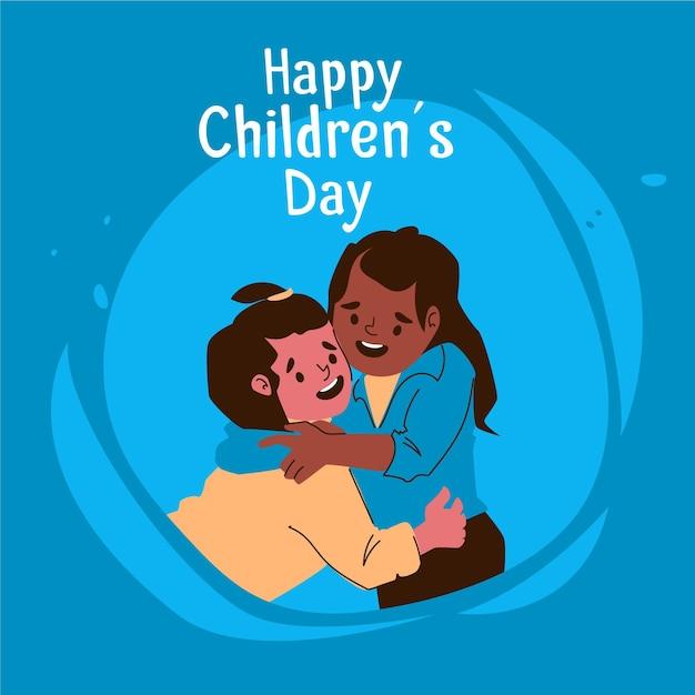 Celebração do dia mundial das crianças do flat design Vetor grátis
