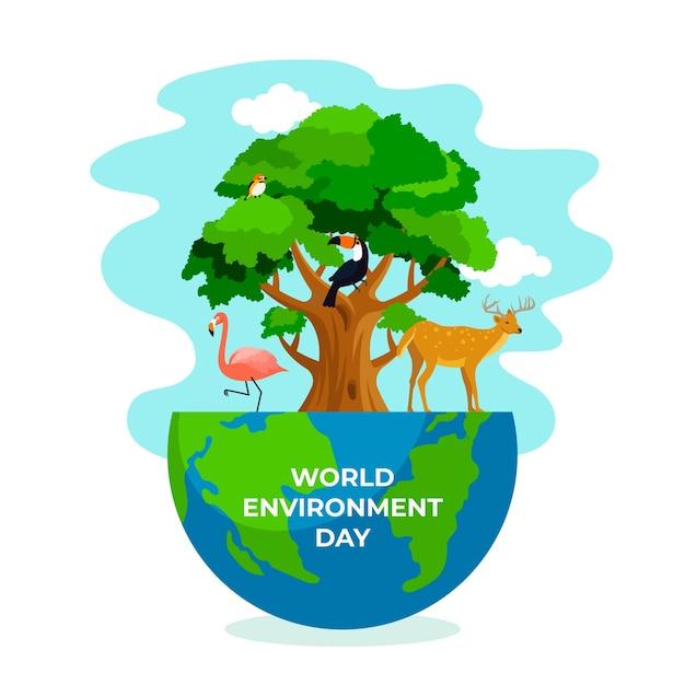 Celebração do dia mundial do meio ambiente Vetor grátis