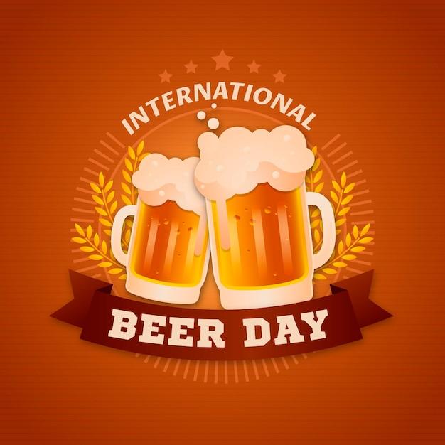 Celebração do evento do dia internacional da cerveja plana Vetor grátis