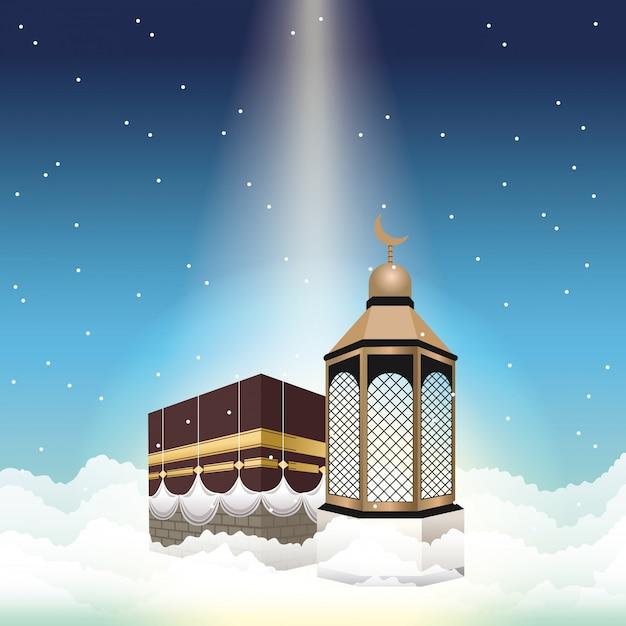 Celebração do hajj mabrur com mataf e lanterna Vetor Premium